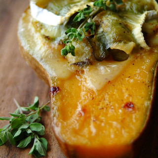 Brussel Sprout and Camembert Gratin in Butternut Squash