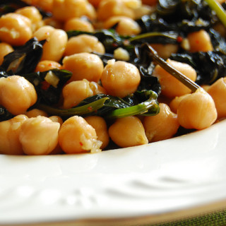 Chickpeas & Sweet Potato Greens