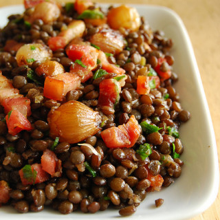 Beluga Lentils with Bacon & Balsamic Roasted Shallots