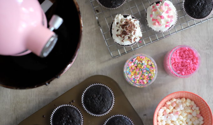 One-Bowl Chocolate Cupcakes & the new KitchenAid Mini